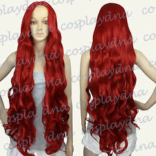 40 inch Hi_Temp No Bangs Midpart Dark Red Long Wavy Cosplay DNA Wigs GDDR