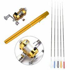 Telescopic Mini Fishing Tackle Pocket Pen Kit Rod Pole Spin Reel Wheel Set Tool