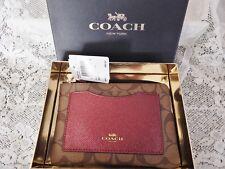 Authentic Coach Wristlet Corner Zip  w Metallic Cherry & Khaki $85 NWT Boxed