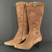 "FRANCO SARTO ""Parma"" Brown Suede Leather Vintage Look Knee High Boots Size 8 M"