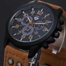 Men Military Leather Waterproof Date Quartz Analog Army Quartz Wrist Watches 01L