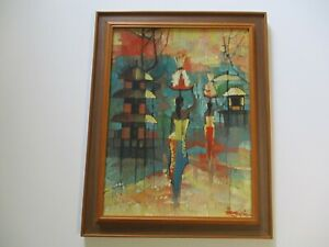 VINTAGE ASIAN PAINTING CHINESE THAI? MYSTERY ARTIST POINTILLIST EXPRESSIONIST