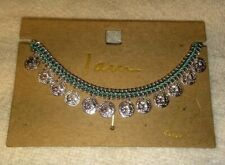 """""""I am"""" Women's Anklet 9 inch Silver Tone Metal Coin Charms New"""