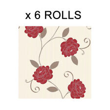 Red Cream Floral Wallpaper Flower Leaf Puccini Feature Wall Bulk Deal 6 Rolls