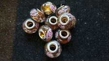 10 BROWN GLITTER  GLASS BEADS WITH PINK ROSES