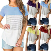 Vogue Women Ladies Summer Loose Tops Cotton Short Sleeve Blouse Stripe T Shirt