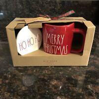 Rae Dunn MERRY CHRISTMAS Mug Red With Coaster Set Farmhouse Holiday by Magenta
