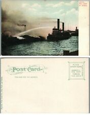 FIRE BOAT IN ACTION ANTIQUE UNDIVIDED POSTCARD