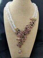 """Heidi Daus """"Blooming Romance"""" Pave Crystal Rose Drop Necklace PINK NWT GORGEOUS!"""