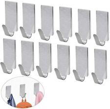 12 Pack Self Adhesive Hooks Stainless Steel 3M Adhesive Wall Hanger, Waterproof