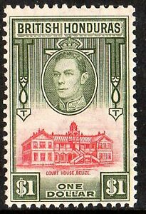BRITISH HONDURAS 1938 KGVI $1 SCARLET and OLIVE sg 159  UNMOUNTED - NH