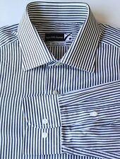 CRISP Saks Fifth Avenue Black White Stripe Shirt 100% 2 Ply Cotton 16 41