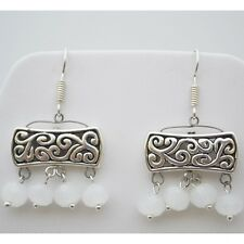 Arabic Style Silver White Crystal Earrings Egyptian handcrafted jewelry