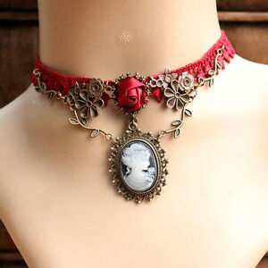 Red Lace Rose Flower Cameo Pendant Necklace Choker Jewelry