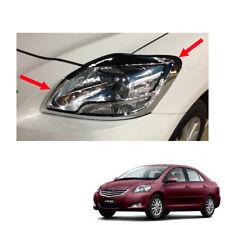 Head Lamp Light Cover Chrome Trim Fit Toyota Vios Yaris Sedan Belta 2010 - 2013