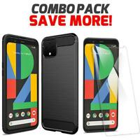 For Google Pixel 4 XL Black Shockproof Gel Sleek Phone Case Cover + Screen Glass