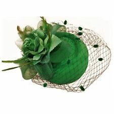 Hair Clip Headband Pillbox Hat Bowler Feather Flower Veil Wedding Party Hat T8i5 Green