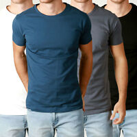 New Mens Basic CREW neck Tees cotton Plain t-shirts Casual Slim Fit tee 3 pack