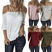 T Shirt Blouse Plus Size Flare Sleeve Tops Sexy Solid Women Off Shoulder