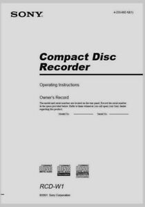 Sony RCD W1 Compact Disc CD Recorder Operating Instruction  USER MANUAL