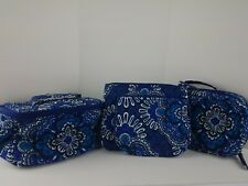 Vera Bradley Cosmetic Travel 4 Pieces Blue Tapestry EUC