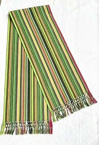 """Pier 1 Striped Fringe Cotton Table Runner 80"""" Green Brick Red Yellow White"""