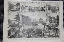 Schloß Nymphenburg verschiedene Ansichten Palmenhaus HOLZSTICH von 1884