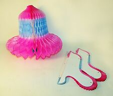 3 Vintage 1970's Pink and Blue Tissue Wedding Bell Decoration