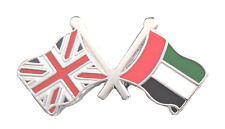 United Arab Emirates UAE Flag & United Kingdom Flag Friendship Pin Badge T775X