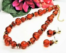 Perfect 4 Fall! Goldtone & Dark Honey Faux Amber Beads Necklace & Earrings Set!