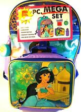 "Disney Aladdin Princess Jasmine Bioworld 5 Piece Mega Backpack Set NWT 16"" Tall"