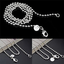"""Wholesale Silver Plated 2.4MM Bead Chain Round Ball Men Women Necklace 16""""-24""""HC"""