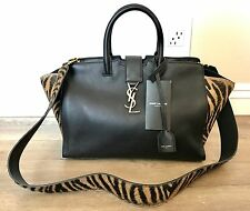583a4b7a8a NWT YSL MONOGRAM SAINT LAURENT DOWNTOWN CABAS BAG IN BLACK ZEBRA PRINTED  COWHIDE