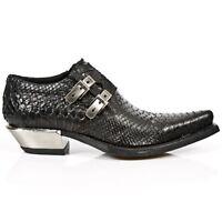 NewRock New Rock 7934-2 Python Black Leather Buckle West Steel Heel Shoes Boot