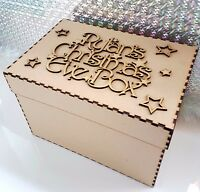 Wooden Personalised Christmas Eve Box And Topper mdf Xmas Tree Gift Memory Box