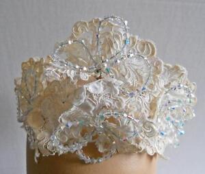 Vtg Bridal Millinery Alecon Lace & Crystal Bead Floral Headpiece Wedding Bouquet