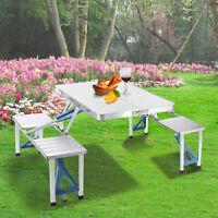 Camping Folding Picnic Table Set 4 Benches One-Piece Aluminum Portable Carry On