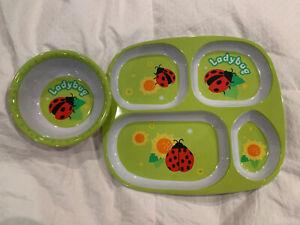 Little Kid & Toddler Melamine Plate & Bowl Set Lady Bug Green
