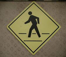 20 - CROSSWALK PEDESTRIAN CROSSING NEON YELLOW Real Road Street Sign