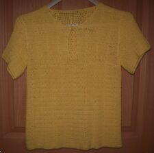 New - UNIQUE Yellow Hand Crochet Pullover Summer Sweater S/S Size S/P
