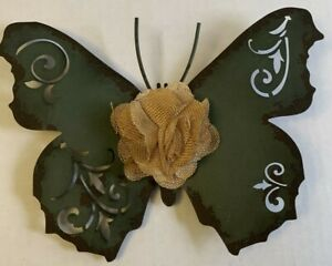 """Metal 3D Butterfly with Burlap Flower Distressed Green 9"""" Hanging Wall Decor"""