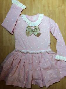 Girls Dress Baby Pink Cream Camel BOW Spanish Romany  dress 2 years - 8 years