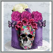 Skull Rose Halloween butterfly CARD Edible Wafer Rice Paper Cupcake Cake Topper