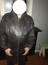 Izzi Hooded Leather Full-Zip Jacket, Size M, Brown, Lined