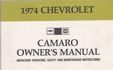 1974 CHEVROLET CAMARO car owners manual