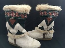 Womens Tecnica Italy Beige Indian Goat Fur Embroidered Winter Snow Boots 7½-8**