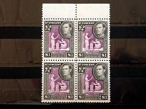 St Vincent 1938 SG159 £1 superb MNH block of 4. (B2741)