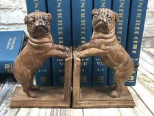 vtg Three Hand Corp ceramic sculpture pug book ends 8' by 5'