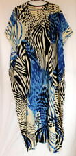 Batik Kaftan Calf Length Artistic Design Black Blue