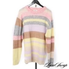 LNWOT Acne Studios Mohair Blend Lilac Pink Yellow Shaggy Stripe Long Sweater M